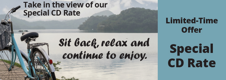 Sit back, relax and continue to enjoy. Take in the view of our cd special CD rate 11-month CD, 1.85% APY*