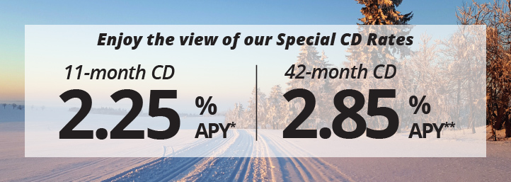 Sit back, relax and continue to enjoy. Take in the view of our cd special CD rates, 11-month CD, 2.25% APY* 42-month CD, 2.85% APY**