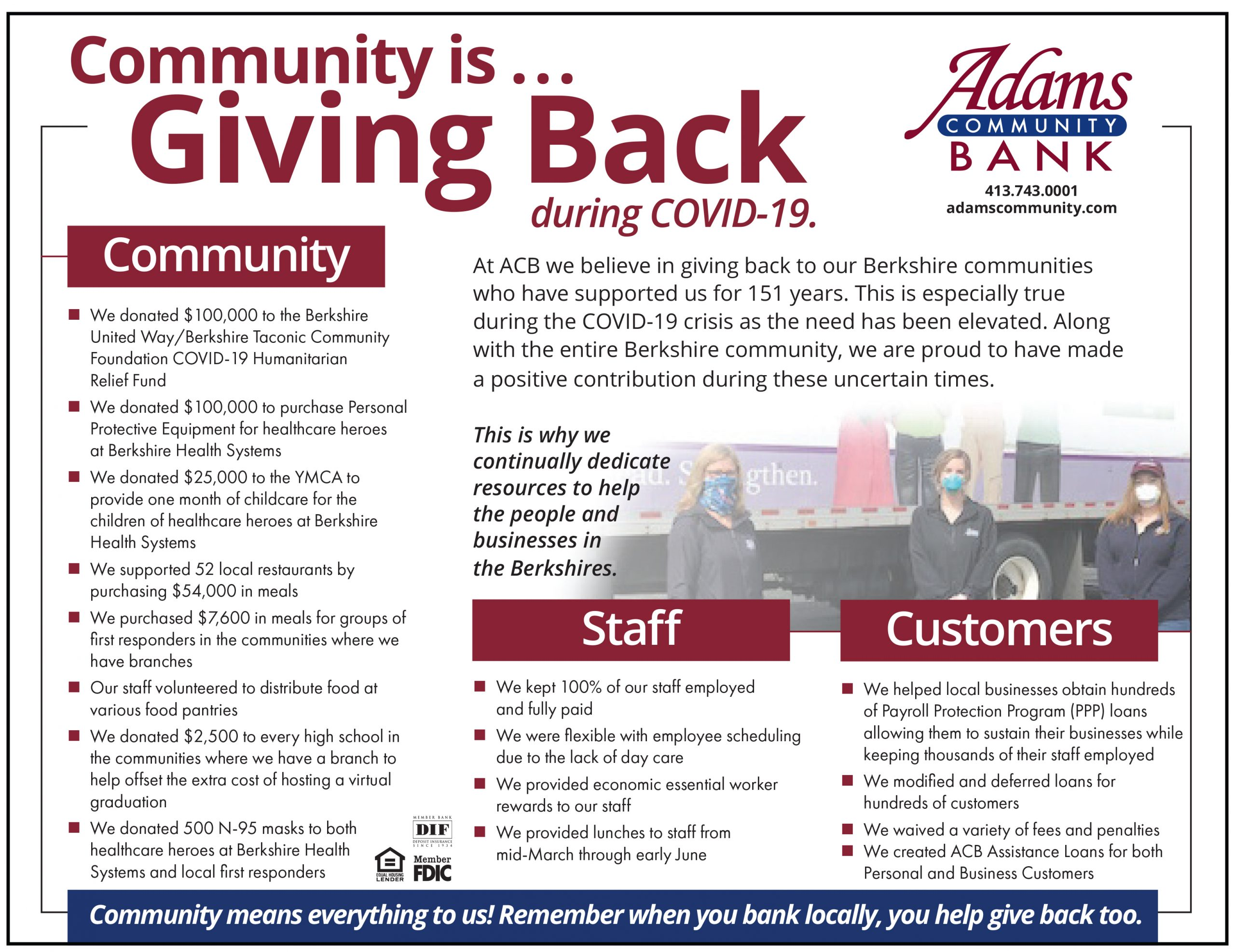 As community needs have risen during the COVID-19 crisis, Adams Community Bank is thankful to be able to show support to our community, customers, and staff.